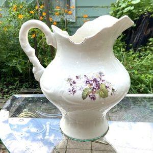 Antique pitcher floral design  farmhouse decor